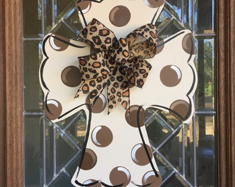 Cross door hanger with leopard bow Neutral cross door hanger Polka dot cross