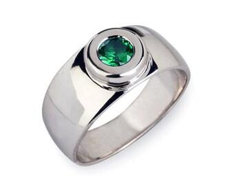 AURA Silver Emerald Band, Emerald Wedding Band, Green Emerald Ring, Wide Silver Wedding Band, Mens Engagement Ring, Unique Men Ring