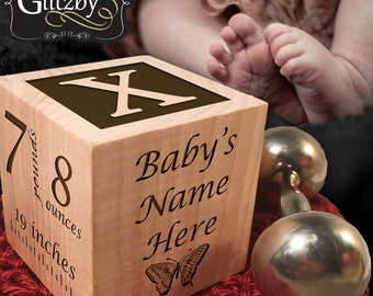 Custom baby blocks etsy custom engraved baby block newborn gift baby gift wooden block woodland nursery negle Choice Image