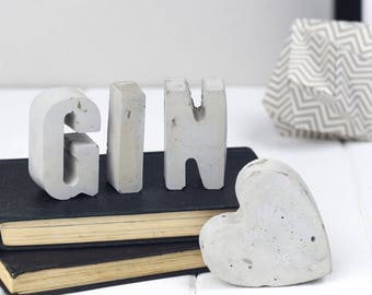 Decorative Letters -Heart- concrete home decor- initials - gift gor her- concrete letters - Father's Day gift - anniversary