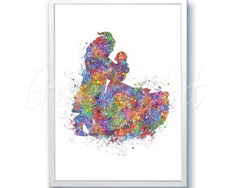 Disney Beauty and the Beast Movie [1] Princess Belle Watercolor Poster Print - Watercolor Painting -Watercolor Art -Kids Decor-Nursery Decor