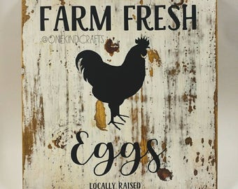 Locally Raised Farm Fresh Eggs Wood Sign Wall Decor Rooster Chicken Country Vintage Shabby Chic Boho Rustic Housewarming Farmer Organic Love