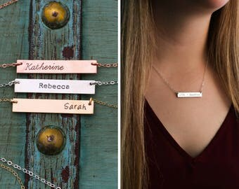 Gold Bar Necklace • 14K Gold Bar Layering Necklace Friend Gift • Personalized Name Jewelry Sister Gift Rose Gold Bar Custom