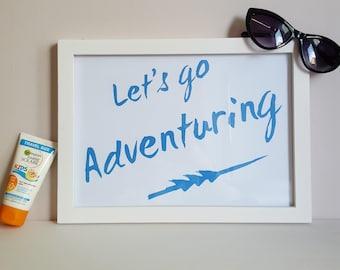 Lets Go Adventuring Print - Outdoorsy Wall Art - Adventure Poster - Nautical Nursery Wall Decor - Woodland Theme Decor - Adventure Playroom
