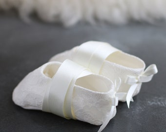 Amelia silk and lace Christening booties by Adore Baby. Baptism shoes. Baby ballet shoes.