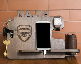 Personalized Arsenal docking station - iPhone charging stand, gift idea - Mens charging dock, Gift for Men