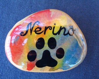 Stone personalized with the name of your cat-hand painted stone