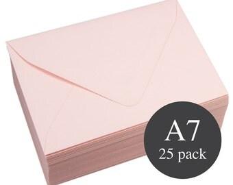 25 - A7 Pink Euro Flap Envelopes - 5 1/4 x 7 1/4 - Matte (Rosa)