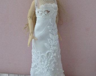 Handmade miniature Wedding dress wearable for Zjakazumi dolls,Heidi Ott 1:12 scale doll