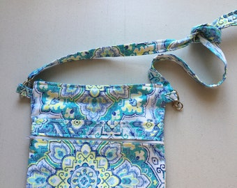 Teal and Blue Mandala Cross Body Sling Tote