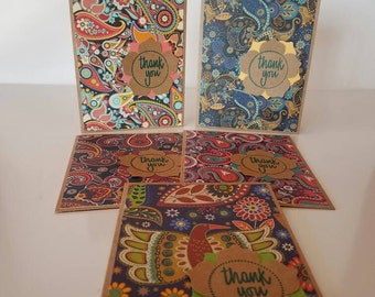 Paisley Kraft Thank You Cards (Blank Inside), Set of 5