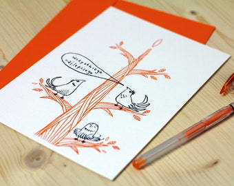 Best wishes card, illustration of 3 birds, limited edition screen print