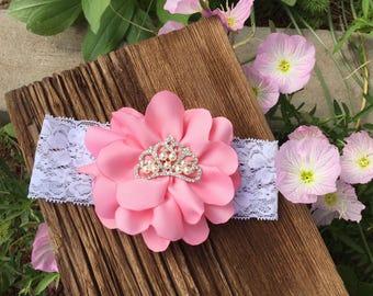 Handmade Pink Flower Princess Headband/Lace Headband