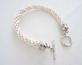 Bracelet kumihimo, braided bracelet pastel colors, bracelet daughter, bracelet tail rat, anniversary gift, gift girl