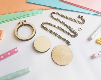 """Mini Embroidery Hoop -With Necklace - 1.5"""" Tiny Hoop - Mini Embroidery Hoop - Tiny Wooden Hoops - DIY Kit - UK"""