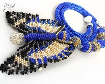 Beaded jewelry Beaded butterfly Blue butterfly Jewelry set beaded Beaded bracelet Bead earrings Blue beaded bracelet.