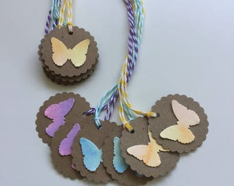 Butterfly Gift Tags - Set of 6, Watercolored, Any Occasion
