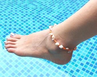 Shells Anklet, Bohemian Anklet, Beach Anklet, Orange Anklet, Summer Wear Jewelry, Gypsy Anklet, Woven Anklet, Unisex Anklet, (A62)