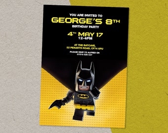 Digital Personalised Lego Batman Children's Birthday Party Invitation