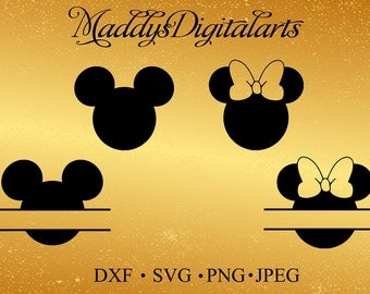 Mickey Mouse SVG File, Minnie Svg, Vinyl Cutting File, Minnie DXF File, Mickey Silhouette, Disney SVG, Mickey Mouse Splitted design