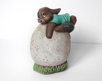 Vintage Ceramic Rabbit on an Egg Bank