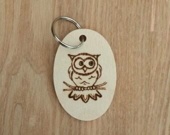 Owl wood keyring, pyrography, wood, burning