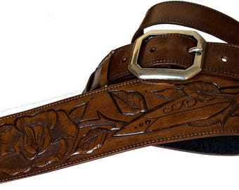 Guitar strap leather carved and handmade/Custom/handmade/Rino Valente Tattoo Artist/Leather Guitar Strap