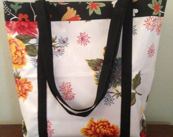 """Fully-lined Snow White Oilcloth """"Bagstaff"""" Market Bag or Beach Bag with FREE shipping"""