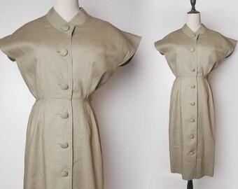 Beige Women Minimalism Style Shirtwaist Vintage Maxi Linen Dress 1980s Size M