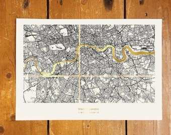 Custom London Coordinates Map - Gold Foil