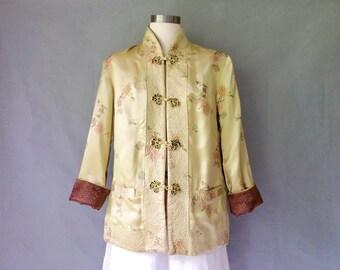Vintage reversible quilted silk oriental jacket/mandarin collar/dynasty jacket women's size S/M/L