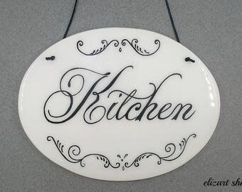 Ceramic sign, kitchen decor sign, kitchen door sign, kitchen tile sign, kitchen wall sign, kitchen plaque, kitchen sign, kitchen ceramics.