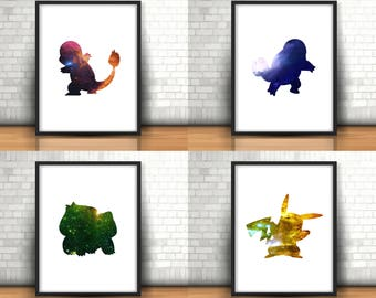 Pokemon Inspired Art Prints Filled With Colourful Space Set Of 4 Charmander, Squirtle, Bulbasaur, Pikachu, Boys Room Decor, Nintendo Gameboy