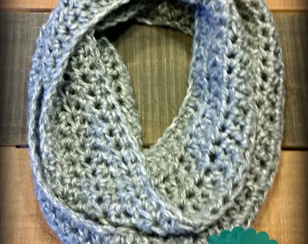 crocheted infinity scarf - soft crocheted infinity scarf - grey infinity scarf