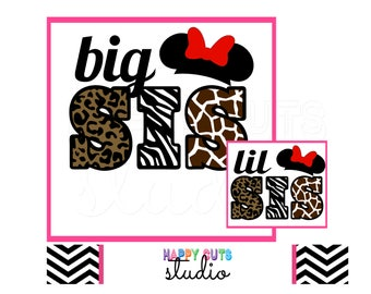 Big Sis / Lil Sis Animal Kingdom Big Sister Giraffe Safari Zebra Cheetah Wild Baby Surprise Minnie Mouse Disney Iron On Decal Vinyl 143