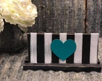 Wooden Heart with Stripes plaque