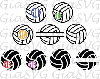 Volleyball Monogram svg, split volleyball svg, volleyball clipart, ready to cut in Cricut, Silhouette etc, also in png, eps & DXF format
