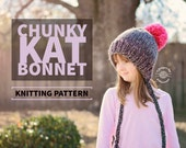 Knit Chunky Kat Bonnet PATTERN | Knit Pattern | Bonnet Hat | Knit Beanie | Knit Hat | Split Brim Hat | Instant Download