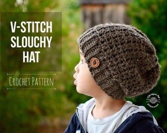 Crochet V-Stitch Slouchy Hat PATTERN | Hat PATTERN | Crochet Pattern | Instant Download Pattern