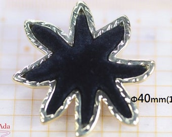 "I20006-Φ40mm(1.6"") 2 Black Starfish Flower Velvet plastic buttons.Gem Accessories."