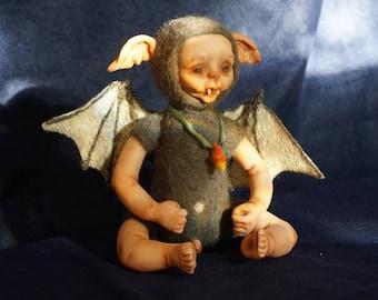 OOAK art doll. Baby Bat .Little baby bat. Art doll. Needle felted doll. Needle felted bat. OOAK. Gothic doll. Wool doll. Interior doll.