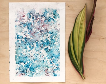 Original watercolour painting - Rain Painting  - Blue Ice and Coral - Original Painting - A5 - Desk Art