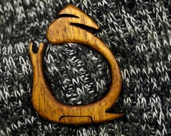 Wooden snail shawl pin