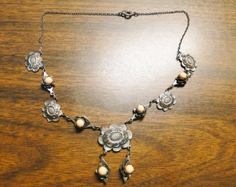 "Nice Victorian Necklace  - 14 1/2"" Long - Silver Tone Metal - Nice Old Find!"