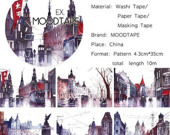 City Washi Tape The old city,scrapbooking stickers,DiY,Paper Decorative masking Tape