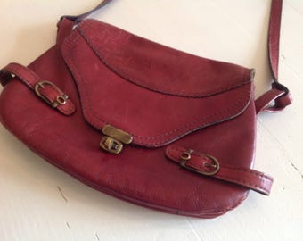 Bag Handbag shoulder bag brown bourdeaux leather 1980s