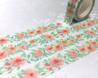 rose Washi tape 7M red rose flower blossom green leaf flower garden Masking tape Watercolored rose flower sticker tape flower wrapping gift