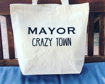 Mayor Crazytown Canvas Grocery Tote