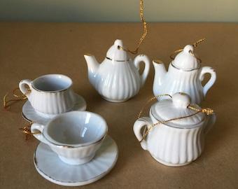 Porcelain Tea Set Christmas Ornament Set