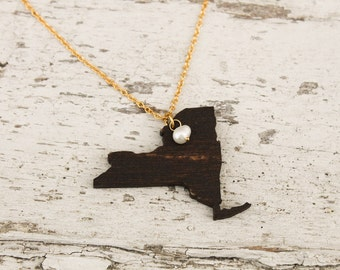 New York, New York State Necklace, Wooden State Necklace, New York Jewelry,  Personalized Gift, Going Away Gift